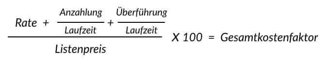 Gesamtkostenfaktor berechnen formel